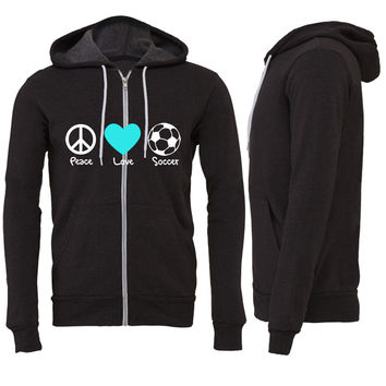 peace love and soccer Zipper Hoodie