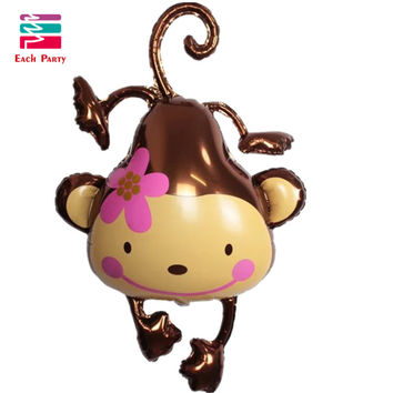 Lovely flower monkey Aluminum foil balloons inflatable balloon birthday party decorations kids toys Animal zoo festa ballons 1pc