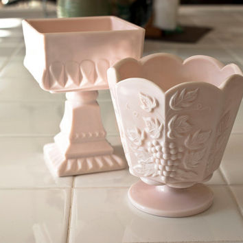Pink Milk Glass Planters Vases Grape Harvest Compote (Pair)