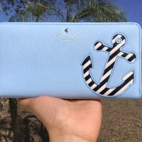 NWT Kate Spade Expand Your Horizons Go Overboard Blue Lacey Zip Around Wallet
