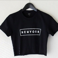 NEW YORK NY Letter Print Funny Crop Tops Women Cropped T-Shirt Sexy Short t shirt Summer Style tshirt Free Shipping