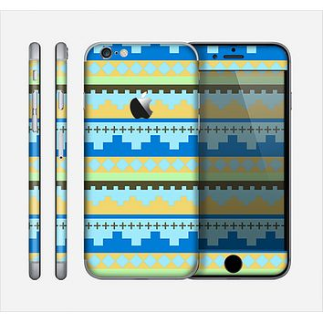 The Blue & Gold Tribal Ethic Geometric Pattern Skin for the Apple iPhone 6