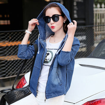 2017  Fashion Autumn Season Even Hat Will Code Bf Wind Cowboy Loose Coat Woman Short A Tide Jacket Woman Fat Korean Student