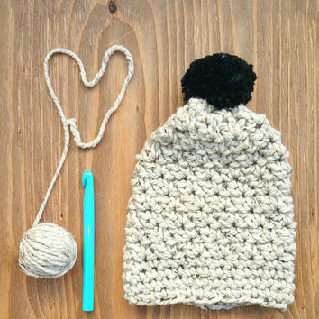 Chunky Crochet Slouchy Beanie, Women's One Size Oatmeal Colored Squishy Hat, Winter Weather Large Crochet Beanie with Black Pompom