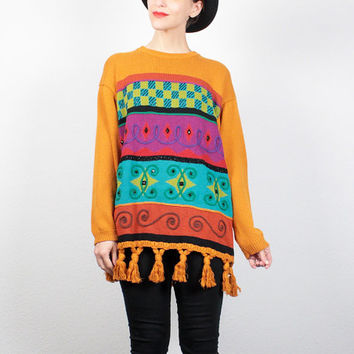 Vintage 90s Sweater Color Block Beaded Sweater 1990s Jumper Fringe Tassel Trim New Wave Sweater 1990s Mod Bright Hipster Knit M Medium L