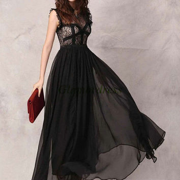 black lace prom dresses / floor length elegant evening gowns / custom colors holiday party dress / flowing chiffon birthday party gowns