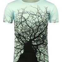 Casual Round Neck 3D Tree Branch Printed T-Shirt