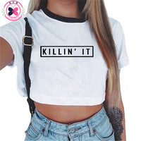 2017 Summer Brand  t shirt short  Funny Printed Letters Tumblr Tee Shirt Femme Camisas Femininas O Neck  White Crop Top