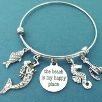 The beach is my happy place, Mermaid, Fish, Sea horse, Lobster, Silver, Bangle, Bracelet, Gift, Jewelry