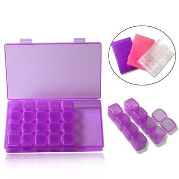 28 Compartment Empty Nail Art Decoration Storage Case Box Nail Glitter Rhinestone Crystal Beads Accessories Container LAND288
