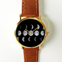 Moon Phases Watch,Vintage Style Leather Watch, Women Watches,Unisex Watch,Boyfriend Watch,Men's Watch,Yellow Black Gray White