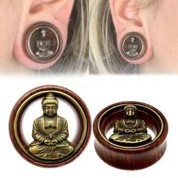 ac PEAPO2Q Fashion 1 Pair Wood Buddha Ear Plugs Double Flared Flesh Tunnel Gauges For Women Men Body Piercing Jewelry 8-20mm