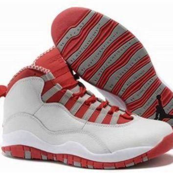 Cheap Air Jordan 10 X Retro White Red Grey Shoes