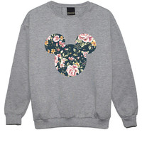 mouse floral SWEATER JUMPER womens ladies fun tumblr hipster swag fashion grunge retro top beyonce goth cute vintage ears roses indie boho