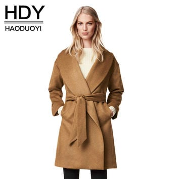 HDY Haoduoyi 2017 Autumn Winter Women Fashion Solid Light Tan Pockets Belt Front Trench Coat V-neck Longline Woolen Coat