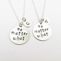best friend necklace, no matter what necklace, no matter where charm, initial necklace, friendship necklace, long distance, 2 bff, custom