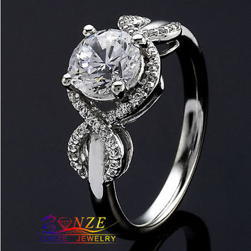 Lonze Jewelry Ring 1.01CT Brilliant Round Cut Center ASCD Simulated Diamond Plated White Gold Ring Mountings Engagement Ring