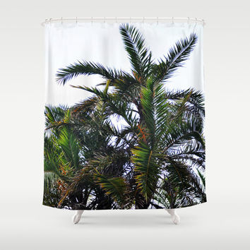 Coconut Palm Cluster - Shower Curtain, Green Palm Fronds Curtain, Beach Surf Bath Style Hanging Tub Vanity Accent Curtain. In 71x74 Inches