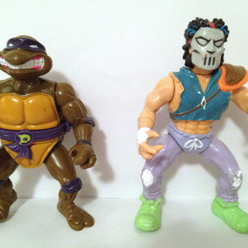 Vintage Teenage Mutant Ninja Turtle Donatello and Casey Jones Action Figures