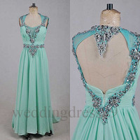 Custom Mint Green Crystals Sexy Long Prom Dresses Open Back Formal Evening Gowns Bridesmaid Dresses 2014 Formal Party Dresses Cocktail Dress