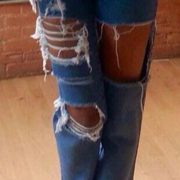 Destroyed High Waist Vintage  Jeans