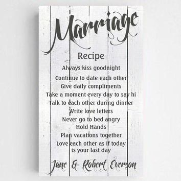 """14""""x24"""" Personalized Marriage Recipe Canvas Sign"""