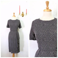 Vintage 1980s GIVENCHY dress Polka dot Elegant Black Rayon Wrap Drape