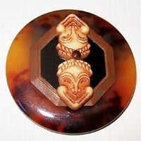 Asian Inspired Brooch Pin Double Face Masks Brown Marble Circle Design Bronze Metal 2 in Vintage