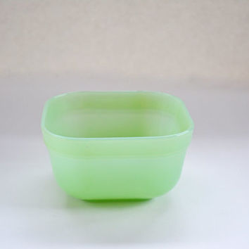 "Vintage Fire King Jadeite Square 4 1/8"" Berry Bowl, 1950's Jadite Serving Piece"