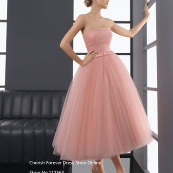 9549605274ec Blush Pink Pearl Tea Length Prom Dresses Soft Tulle Corset Beach Short Prom  Evening Gown