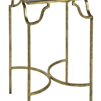 Frisco Side Table Antique Gold Leaf with Black Highlights with an Antiqued Glass Top