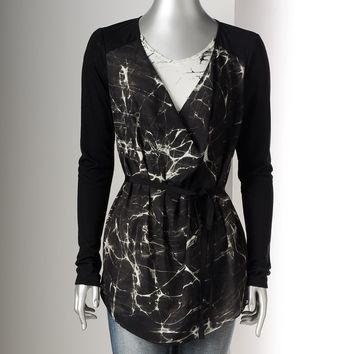 Simply Vera Vera Wang Splatter Mixed-Media Top - Petite, Size: