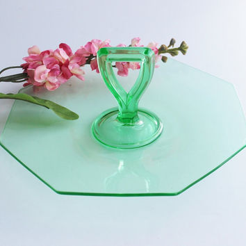 1930s Green Glass Octagonal Serving Dish Tray with Handle / Art Deco Regency / Hors de' oeuvres Sandwiches Desserts / Christmas Hostess Gift