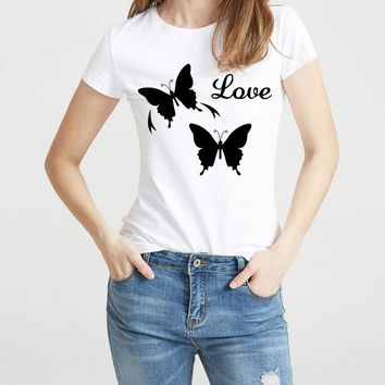 2017 women's black white t-shirts thank you love your feets camisetas short sleeve o-neck hipster casual flowers tee shirt femme
