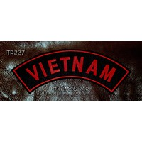 VIETNAM Red on Black Patch for Motorcycle Jacket Vest