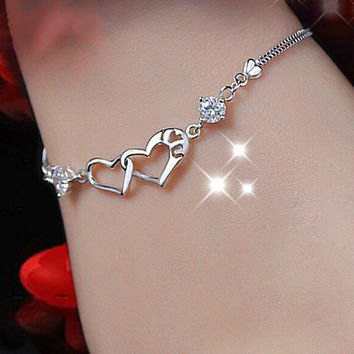 Trendy Heart Jewelry Rhinestone Bracelet & Bangles Silver Plated Jewelry Accessories For Women pulceras mujer