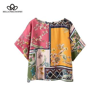 Bella Philosophy floral patchwork print loose blouse kimono style o neck short sleeve shirts female streetwear oversized tops
