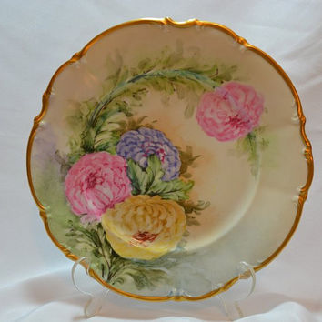 Bavaria Germany Hutschenreuther Plate with Hand Painted Peonies, 24K Gold Trim Osborne China 10""