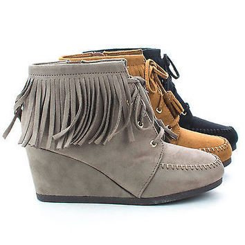 Wig Black F-Suede by City Classified, Moccasin Lace Up Hidden High Wedge Heel Fringe Ankle Booties
