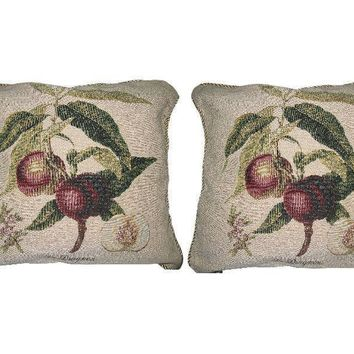 "Set of Two Nectarine Fruits Elegant Novelty Woven Square Throw Toss Accent Cushion Cover Pillow with Inserts - 2-Pieces - 18"" x 18"" (CC45X45CM312)"