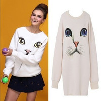 AA-998 O-Neck Pullover Hoodie Women Oversized Plus Size Harajuku Blue Eyes Cat Printed Long Sweater shirt