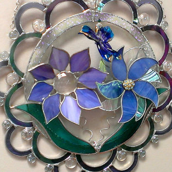 Large Wall Art Stained Glass Flowers Hummingbird 3d Suncatcher Blue Purple Mauve Turquoise, Artisan Lampwork Butterfly Original Design