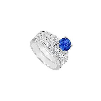 14K White Gold : Sapphire and Diamond Engagement Ring with Wedding Band Set 1.10 CT TGW