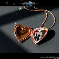 Vintage Classic Open Heart Gold Plated Pendant Necklace with Jewelry Box