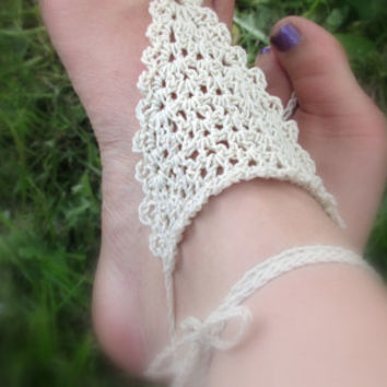 Nude Barefoot Sandals, Natural, Delicate Boho Sandals, Foot Jewelry, Anklet, Wedding Accessories, Beach Shoes, Hippie, Yoga, Bellydancer