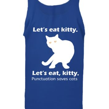 'Lets Eat Kitty Punctuation Saves Lives' Funny Slogan Men Women Unisex Tank Top Vest Gym Summer Singlet (80) Blue