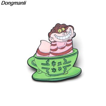 P2472 Dongmanli Alice in Wonderland Cheshire cat Enamel Pin Shirt Pins and Brooches for Cartoon Lapel Pin bag badge kids Gift