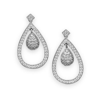 Rhodium Plated Micro Pave Cubic Zirconia Pear Drop Earrings