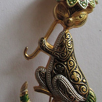 Cat Holding Parasol Pin Vintage Spain