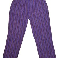 Bohemian Gypsy Chic Purple Unisex Yoga Pant Cotton Stripes Print Loose Trouser With Elastic Waistband Washed Pants With Pockets